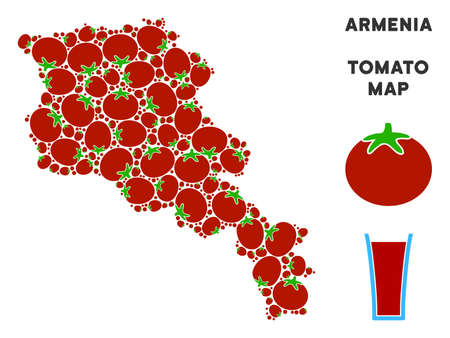 Armenia map collage of tomato in different sizes. Vector tomatoes objects are united into Armenia map collage. Tomatoes vector illustration with juice glass.