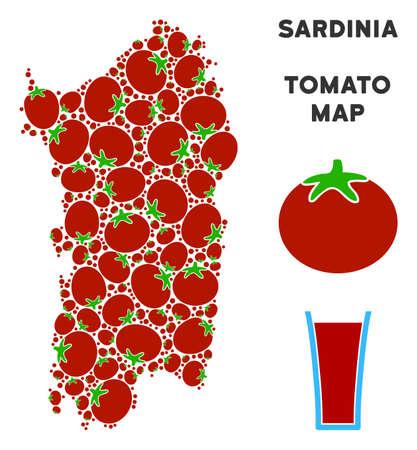 Italian Sardinia Island map composition of tomato vegetables in various sizes. Vector tomato objects are combined into Italian Sardinia Island map figure.