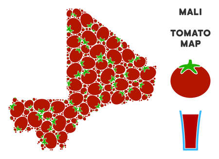 Mali map composition of tomato vegetables in variable sizes. Vector tomato symbols are grouped into Mali map illustration. Diet vector illustration with juice glass.
