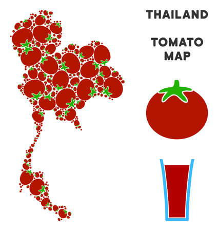 Thailand map composition of tomatoes in various sizes. Vector tomatoes items are united into Thailand map mosaic. Tomatoes vector design concept with juice glass.