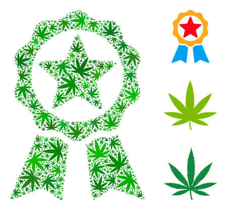 Award composition of marijuana leaves in different sizes and green tones. Vector flat hemp leaves are composed into award illustration. Herbal vector illustration. Illustration