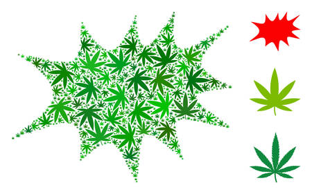 Boom bang composition of weed leaves in variable sizes and green tinges. Vector flat weed items are grouped into boom bang composition. Addiction vector illustration.