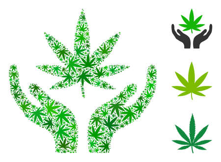 Cannabis care hands mosaic of weed leaves in variable sizes and green tones. Vector flat marijuana symbols are grouped into cannabis care hands mosaic. Narcotic vector design concept.