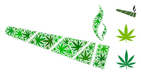 Cannabis cigarette mosaic of hemp leaves in different sizes and green tones. Vector flat hemp leaves are composed into cannabis cigarette collage. Addiction vector design concept. Illustration
