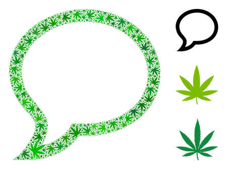 Chat message collage of weed leaves in variable sizes and green hues. Vector flat weed elements are combined into chat message collage. Herbal vector illustration.