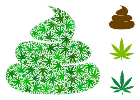Poop mosaic of weed leaves in variable sizes and green hues. Vector flat hemp icons are composed into crap mosaic. Drugs vector design concept. Vectores