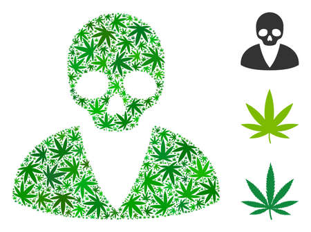 Death man composition of hemp leaves in various sizes and green variations. Vector flat marijuana leaves are grouped into death man composition. Narcotic vector design concept.