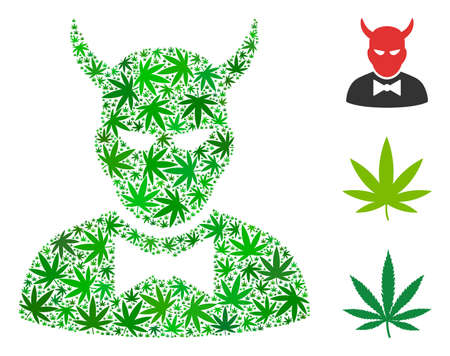 Devil mosaic of cannabis leaves in variable sizes and green hues. Vector flat cannabis items are composed into devil mosaic. Narcotic vector illustration.