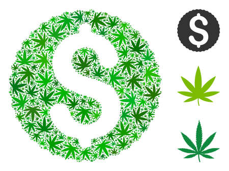 Dollar coin collage of weed leaves in various sizes and green variations. Vector flat weed icons are united into dollar coin composition. Drugs vector illustration. Illustration