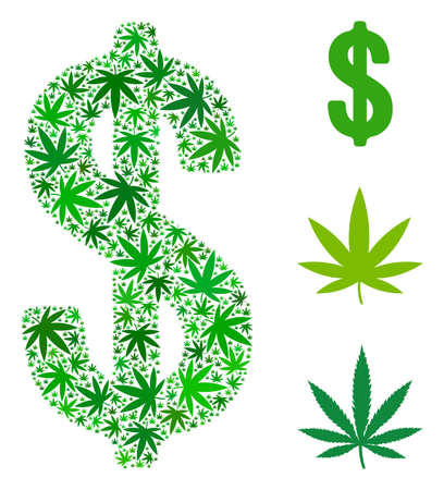 Dollar collage of marijuana leaves in various sizes and green tinges. Vector flat cannabis leaves are organized into dollar collage. Herbal vector illustration. Illustration