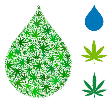 Drop mosaic of hemp leaves in variable sizes and green shades. Vector flat grass elements are grouped into drop mosaic. Addiction vector design concept. Иллюстрация