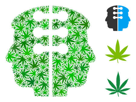 Dual head interface mosaic of hemp leaves in different sizes and green hues. Vector flat marijuana items are united into dual head interface mosaic. Drugs vector illustration.