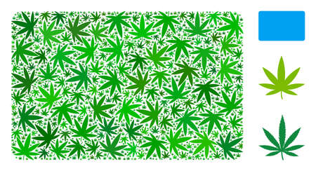 Filled rectangle composition of cannabis leaves in variable sizes and green variations. Vector flat cannabis leaves are combined into filled rectangle figure. Drugs vector illustration.