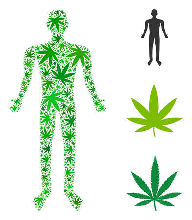 Human composition of weed leaves in variable sizes and green variations. Vector flat ganja icons are united into human composition. Herbal vector design concept. Archivio Fotografico - 103877569