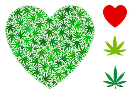 Love heart mosaic of hemp leaves in various sizes and green tinges. Vector flat marijuana objects are combined into love heart shape. Addiction vector design concept.