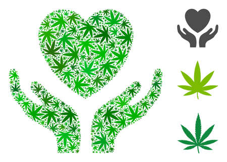 Love heart care hands composition of hemp leaves in variable sizes and green variations. Vector flat hemp symbols are composed into love heart care hands illustration. Drugs vector illustration.