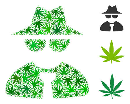 Mafia boss mosaic of marijuana leaves in various sizes and green tinges. Vector flat cannabis symbols are organized into mafia boss mosaic. Herbal vector design concept.