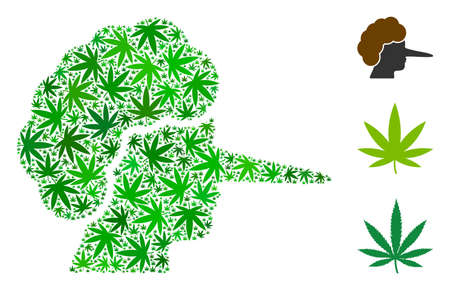 Lier mosaic of hemp leaves in variable sizes and green shades. Vector flat marijuana leaves are grouped into lier mosaic. Drugs vector design concept.