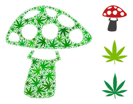 Mushroom composition of weed leaves in various sizes and green tints. Vector flat weed leaves are grouped into mushroom illustration. Herbal vector illustration.