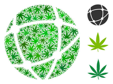 Network collage of marijuana leaves in different sizes and green tones. Vector flat ganja leaves are united into network collage. Narcotic vector design concept.