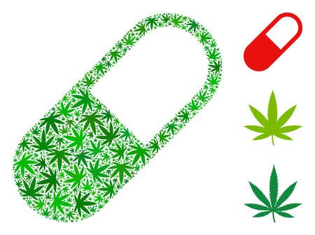 Medication granule mosaic of cannabis leaves in different sizes and green shades. Vector flat cannabis items are combined into medication granule collage. Narcotic vector illustration.