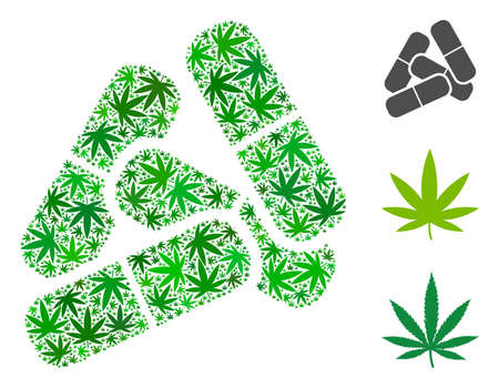 Pills composition of hemp leaves in variable sizes and green tones. Vector flat hemp leaves are composed into pills mosaic. Addiction vector design concept. Stock Illustratie