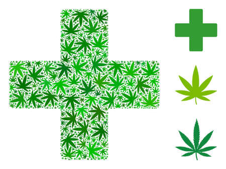 Plus collage of hemp leaves in various sizes and green tinges. Vector flat hemp elements are united into plus illustration. Addiction vector illustration.