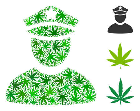 Policeman collage of cannabis leaves in different sizes and green tinges. Vector flat hemp leaves are organized into policeman illustration. Narcotic vector illustration.