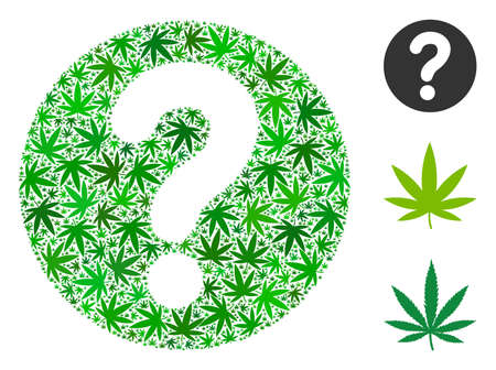 Query composition of cannabis leaves in various sizes and green tinges. Vector flat hemp objects are organized into query composition. Herbal vector illustration.