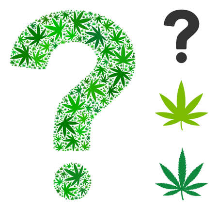 Question mosaic of cannabis leaves in different sizes and green tints. Vector flat ganja leaves are organized into question figure. Herbal vector illustration.