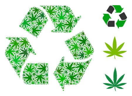 Recycle arrows collage of cannabis leaves in variable sizes and green variations. Vector flat ganja leaves are grouped into recycle arrows illustration. Narcotic vector illustration.