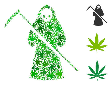 Scytheman composition of cannabis leaves in variable sizes and green tinges. Vector flat weed leaves are united into scytheman composition. Herbal vector illustration.