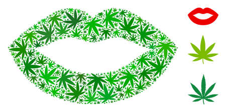 Sexy lips collage of marijuana leaves in different sizes and green tones. Vector flat marijuana objects are united into sexy lips collage. Addiction vector design concept.