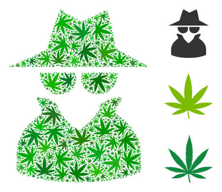 Spy composition of hemp leaves in variable sizes and green tinges. Vector flat hemp leaves are grouped into spy illustration. Herbal vector design concept. Illustration