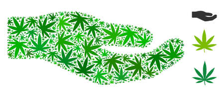 Share hand mosaic of hemp leaves in various sizes and green hues. Vector flat hemp icons are composed into share hand mosaic. Herbal vector illustration.
