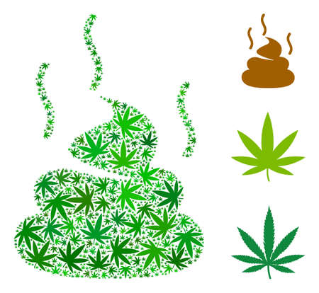 Poop smell composition of hemp leaves in various sizes and green tinges. Vector flat weed leaves are grouped into shit smell composition. Narcotic vector illustration.