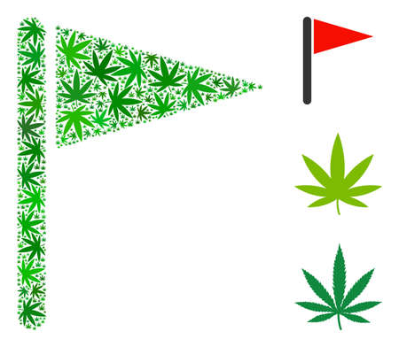 Triangle flag mosaic of weed leaves in different sizes and green variations. Vector flat weed symbols are composed into triangle flag mosaic. Narcotic vector illustration.