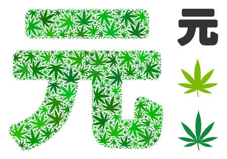 Yuan Renminbi composition of weed leaves in variable sizes and green tints. Vector flat grass leaves are united into Yuan Renminbi composition. Addiction vector design concept. Illustration