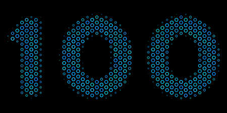 Halftone 100 text collage icon of spheres in blue color tones on a black background. Vector round spheres are composed into 100 text composition.