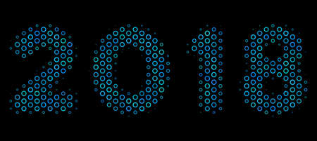 Halftone 2018 year text mosaic icon of spheres in blue color tinges on a black background. Vector circle bubbles are united into 2018 year text mosaic.