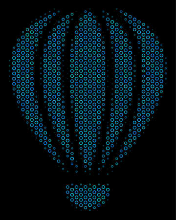 Halftone Aerostat mosaic icon of spheres in blue color tinges on a black background. Vector bubble spheres are organized into aerostat illustration. Illustration