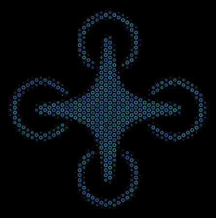 Halftone Air drone collage icon of spheric bubbles in blue color tinges on a black background. Vector spheric dots are organized into air drone collage.