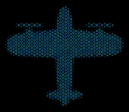 Halftone Aircraft mosaic icon of empty circles in blue color hues on a black background. Vector empty circles are grouped into aircraft mosaic. Illustration