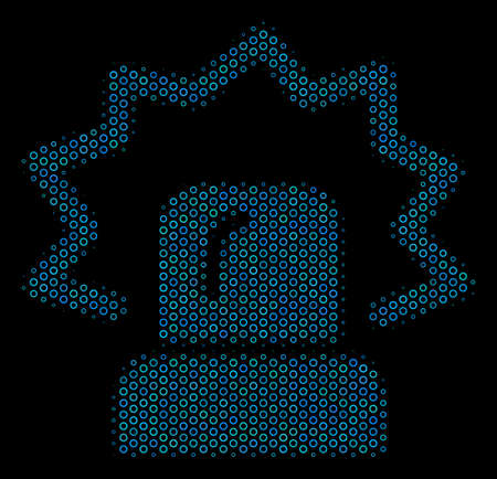 Halftone Alarm mosaic icon of circle elements in blue color hues on a black background. Vector circle items are united into alarm mosaic. 向量圖像