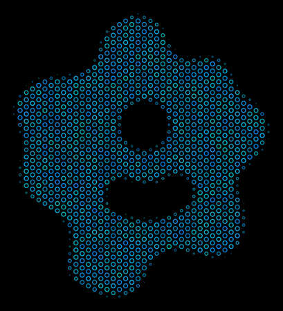 Halftone Amoeba mosaic icon of circle elements in blue color tints on a black background. Vector circle bubbles are arranged into amoeba illustration.