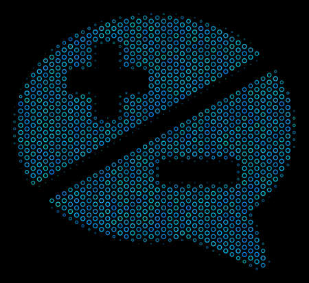 Halftone Arguments mosaic icon of empty circles in blue color hues on a black background. Vector empty circles are arranged into arguments illustration.
