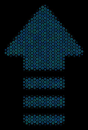 Halftone Arrow pointer mosaic icon of circle bubbles in blue shades on a black background. Vector empty circles are arranged into arrow pointer mosaic.