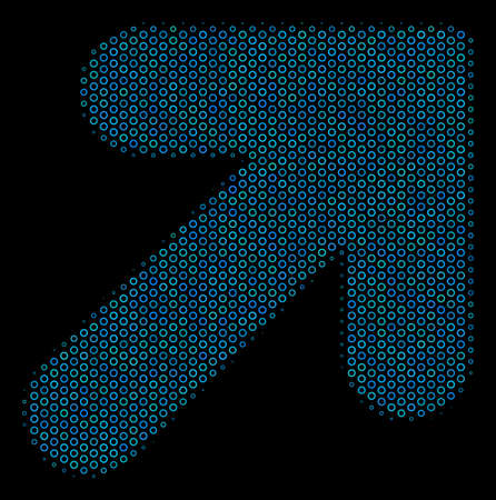 Halftone Arrow up right mosaic icon of circle bubbles in blue color tints on a black background. Vector circle bubbles are arranged into arrow up right composition.