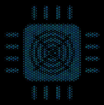 Halftone ASIC processor mosaic icon of empty circles in blue color hues on a black background. Vector empty circles are arranged into ASIC processor composition.