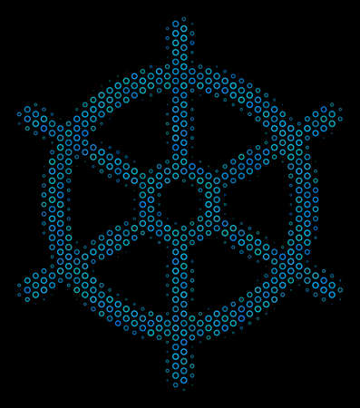 Halftone Boat steering wheel mosaic icon of spheres in blue color hues on a black background. Vector round spheres are united into boat steering wheel mosaic. Illustration
